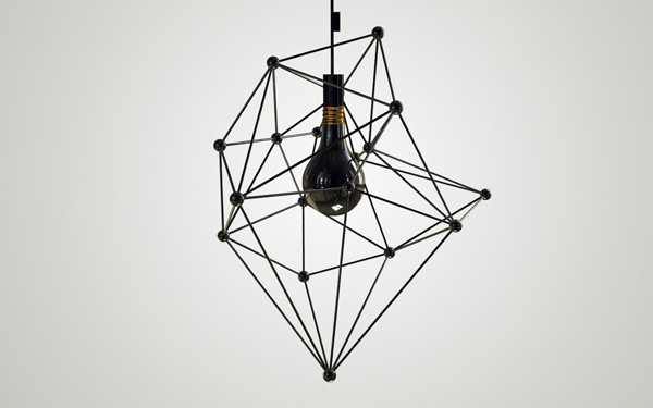 modern chandelier with black bulb and geometric lamp shade structure