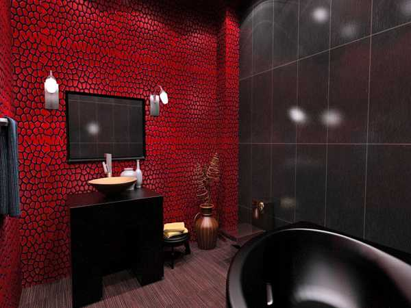 Exceptionnel Red And Black Bathroom Colors, Black Bathroom Fixtures And Furniture With  Red Wall Covering