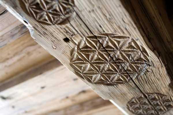 carved wood ceiling beams