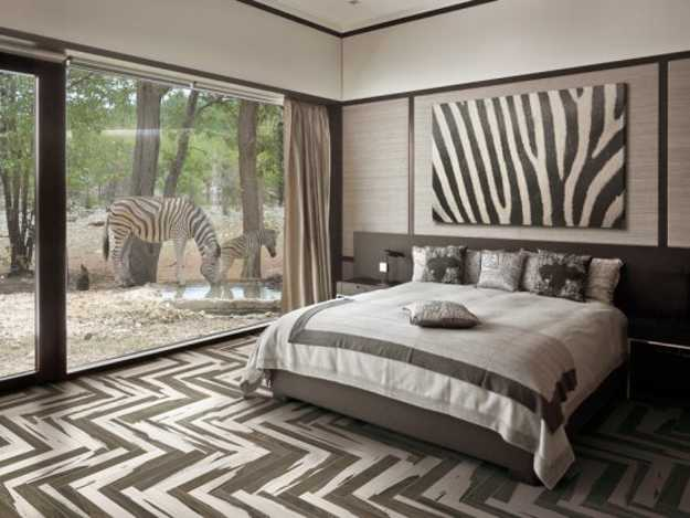 wood imitating floor tiles for bedroom design