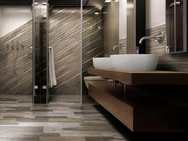 Modern Bathroom Design With Mimicking Wood Floor Tiles