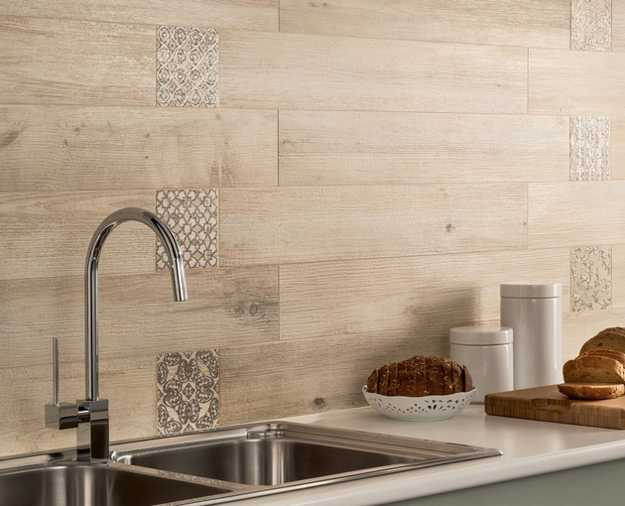 Wall Design Textured With Ceramic Tiles That Look Like Wood Planks