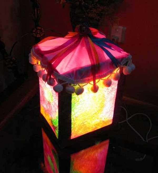 square shaped silk lantern