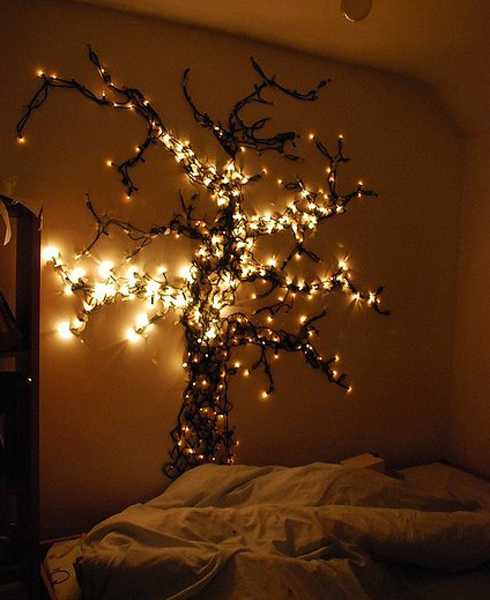 tree created with strings of holiday lights creative bedroom decorating ideas with white christmas lights - Christmas Light Home Decorating Ideas