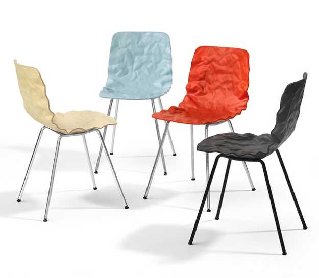 contemporary chairs with crumpled surfaces