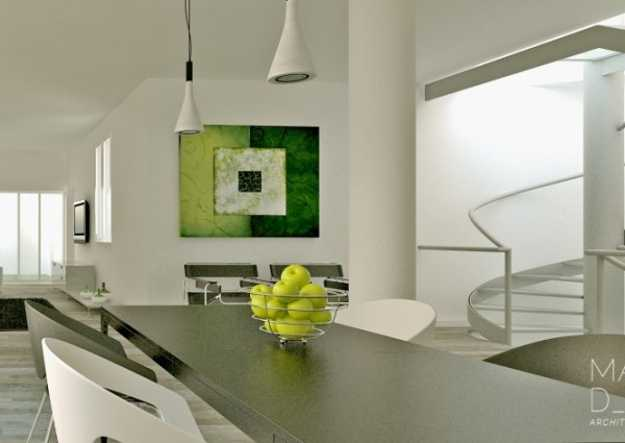 Dining Room Decorating In Black And White With Accents In Green Colors