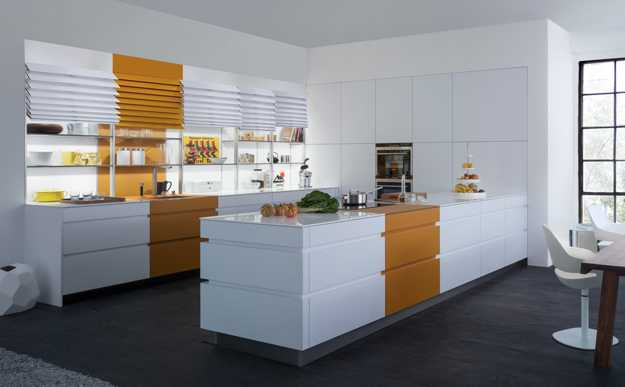 Contemporary Kitchen Shelves With Blinds
