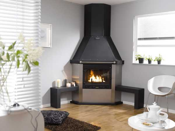 Contemporary Corner Fireplace Design With Benches