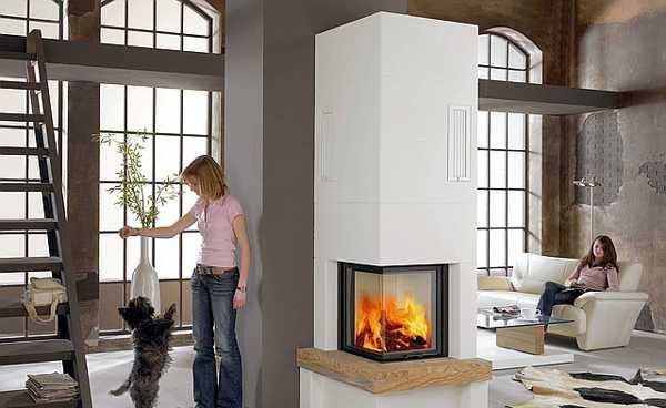space saving corner fireplace design