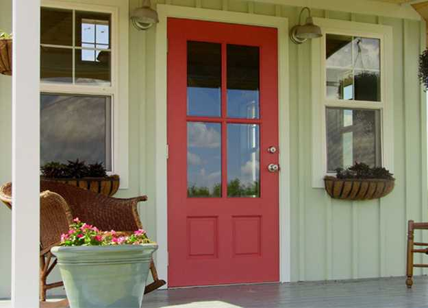 Soft pink front door and pale green wall decorating & Exterior Wood Door Decorating with Paint to Personalize House Design ...
