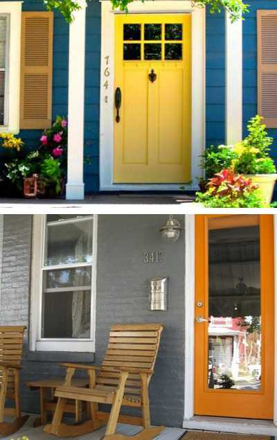 Exterior wood door decorating with paint to personalize house design and feng shui homes for Feng shui exterior house colors