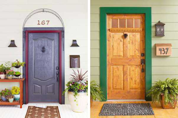 green and purple colors for front door decorating