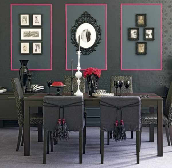 Dining Room Decorating In Medium Gray And Pink Color Scheme With White  Accents