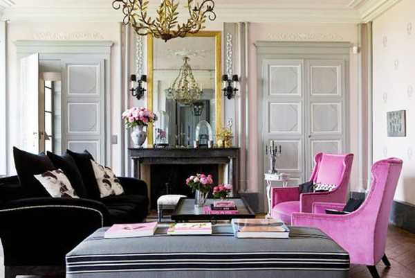 Living Room Furnishings In Gray And Pink Colors