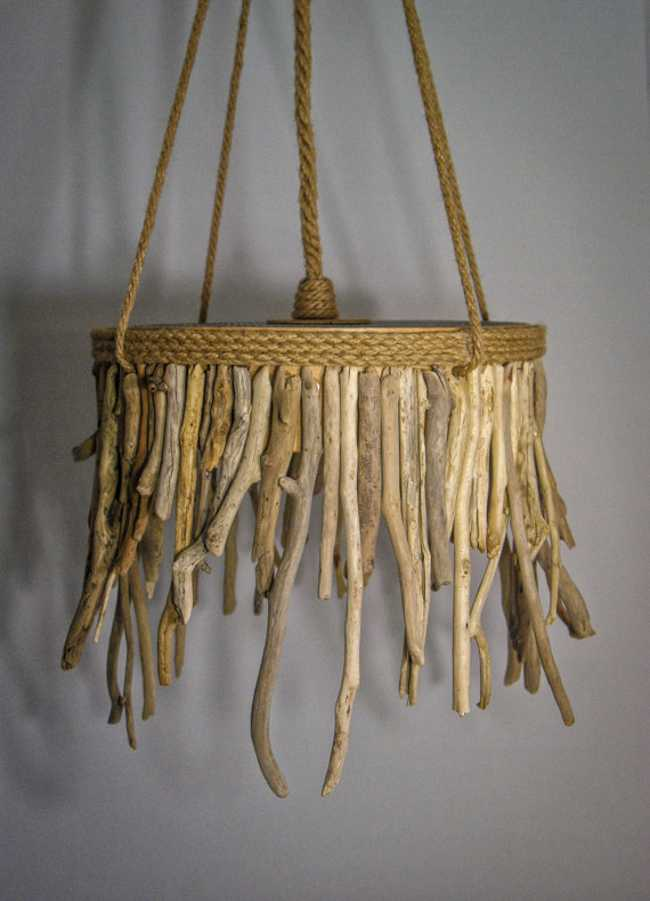 natural rope and driftwood used for modern chandelier