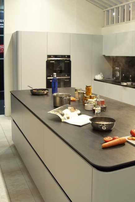 Blue Kitchen Island With Induction Cooktop: New Kitchen Countertop Material Creating Clean
