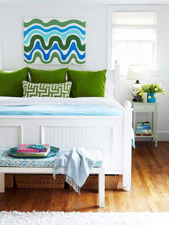 Modern Room Designs And Colors: Blue Color Schemes Enhancing Modern Bedroom Decorating Ideas