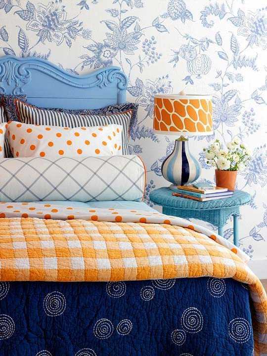 orange and blue bedroom colors