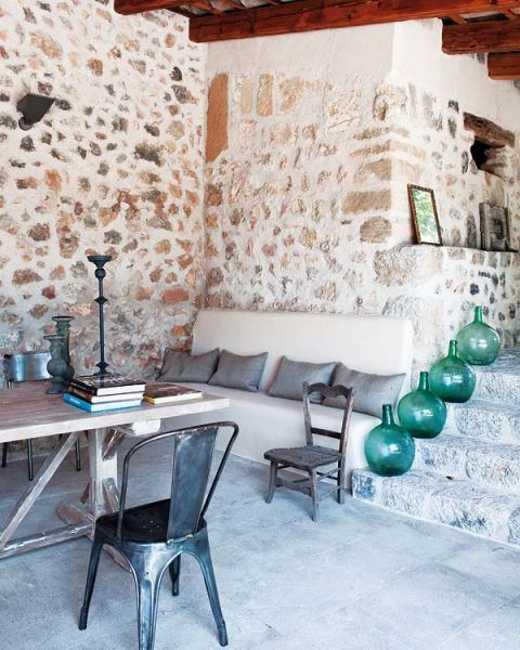 Modern Interior Design And Decorating In Mediterranean Style Emphacizing Vintage Stone Walls
