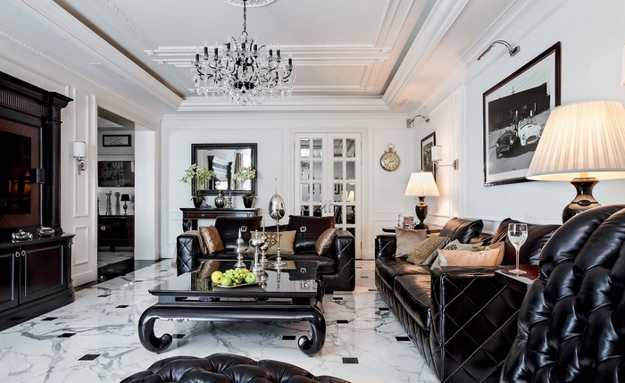 living room design with black furnishings
