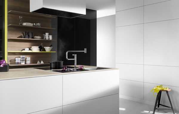 New Kitchen Faucet Rotates 360 Degrees Improving Modern Kitchen Islands Design