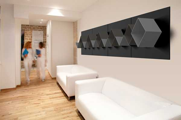 black wall shelves with white living room furniture