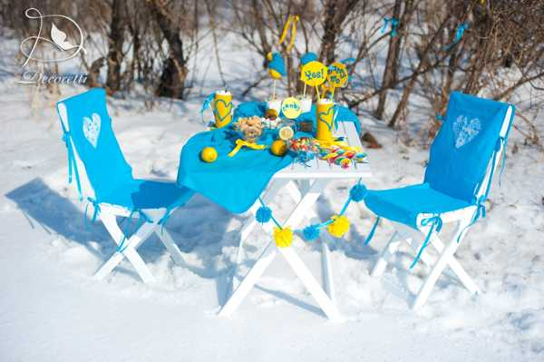 yellow and blue color scheme for winter picnic, table decoration ideas