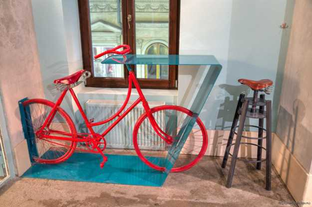 modern table made of bike