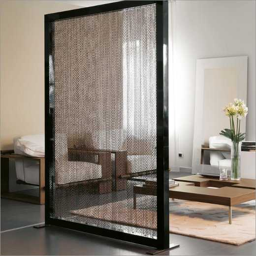 contemporary room divider in black frame