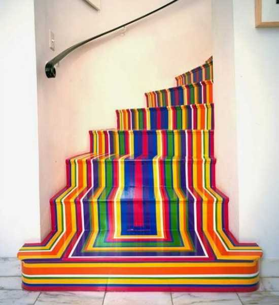 Rainbow Colorful Stripes Painted Or Created With Tape On Wooden Stairs  Risers And Steps
