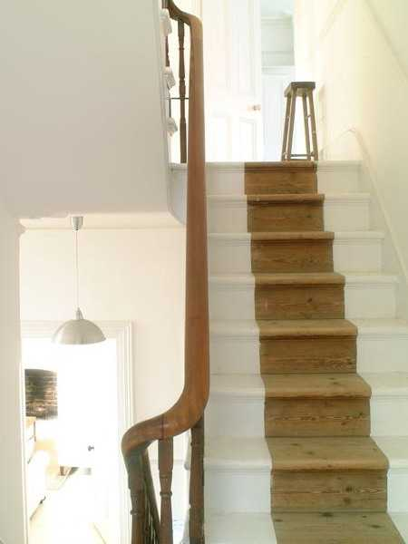 Home Design Ideas Small Spaces: Wooden Stairs With Painted Stripes Updating Interior