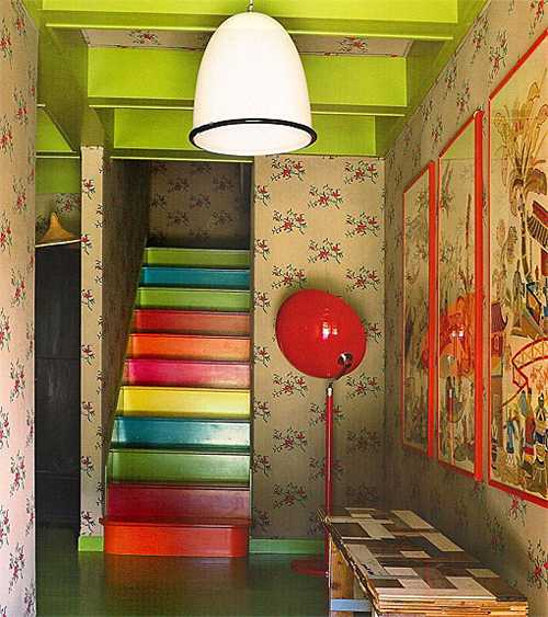 Staircase Ideas Creative Ways To Add Style: Wooden Stairs With Painted Stripes Updating Interior