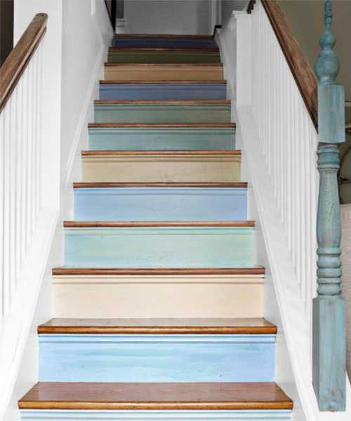 Blue Stripes On White Stairs