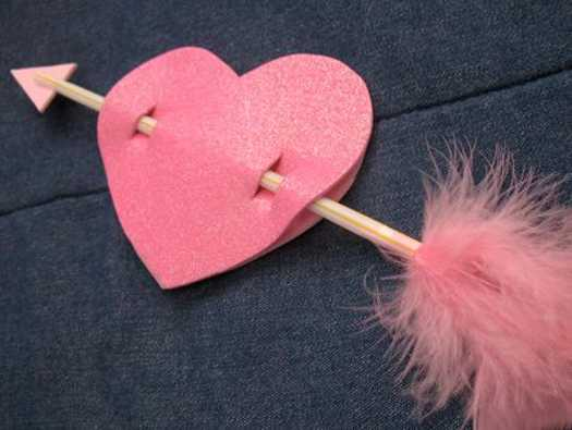 pink heart with arrow, valentines day crafts and gift ideas