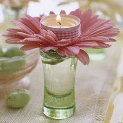 pink flower and tea candle centerpiece idea