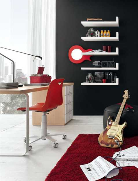 teenage bedroom decorating with music theme