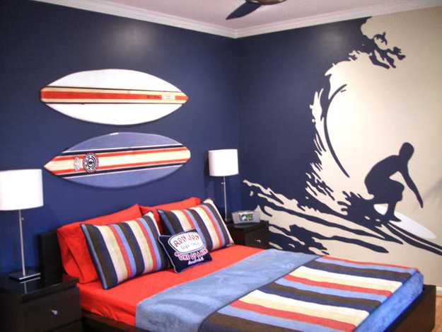 Age Bedroom Decorating For Boys Sport Theme And Traditional Blue Red Color Scheme