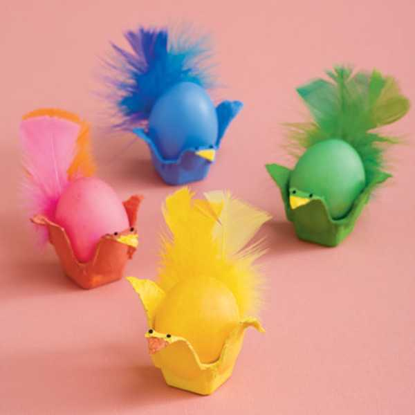 colorful easter egg decorations with feathers