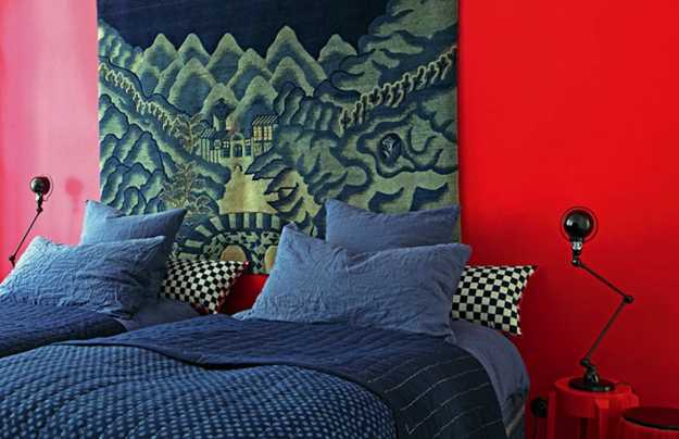 bedroom decorating, red wall paint and ethnic decorating ideas