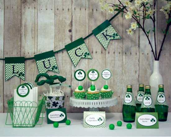 Green Colored Food For St Patricks Day Party Table Decoration