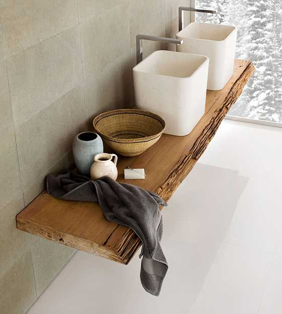 wooden shelf for bathroom design