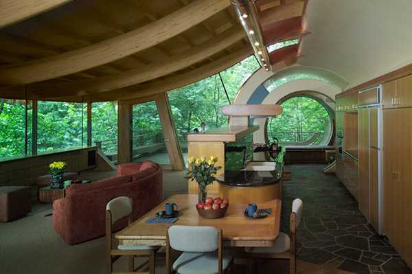 interior design with curved wood beam ceiling