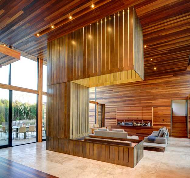 wood and bronze interior design