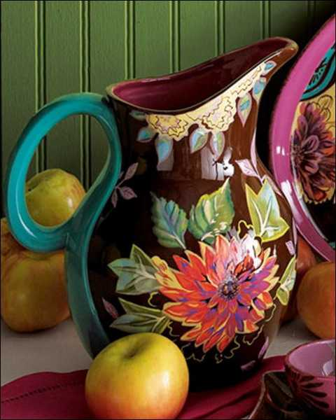 pitcher with floral design