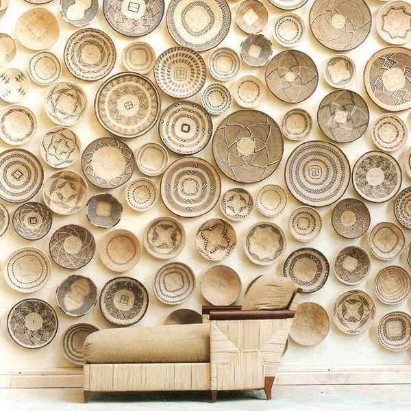 modern wall design with wicker plates
