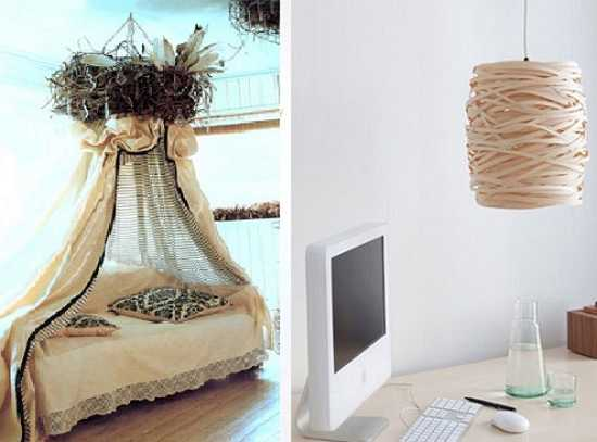 unique bed design and lighting fixture inspired by bird nest shapes