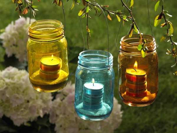 Incroyable Simple Garden Decorations, Colorful Outdoor Lights, Glass Jar Candle  Lanterns,