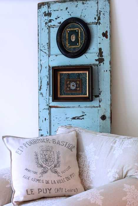 blue painted wood door