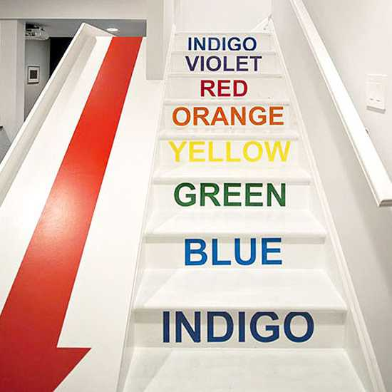 colorful painting ideas for wooden stairs