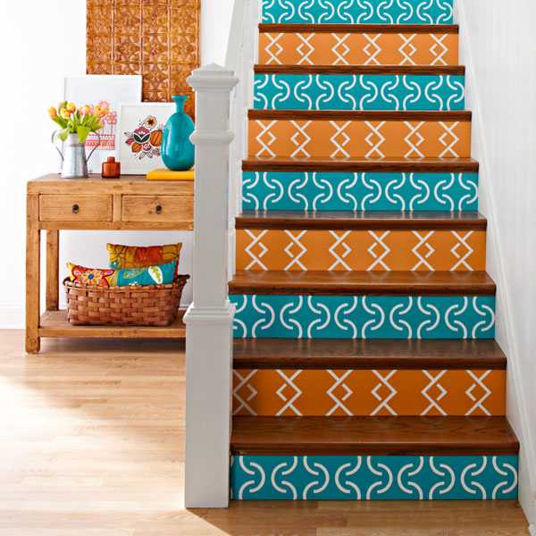 Wooden Stairs With Painted Stripes Updating Interior: 20 Unusual Interior Decorating Ideas For Wooden Stairs